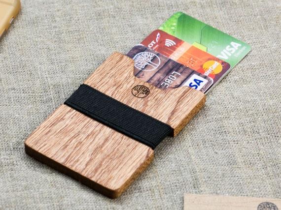 BEST slim Sapele wood wallet 3-5 card, black color strap / Best for boyfriend's gift / Slim & Light wallet / Mini Mens wallet / + Engraving