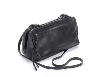 Black Leather Crossbody Bag, Small Shoulder Bag, Cross Body Bag, Black Crossbody, Everyday Cross Body Bag, Soft Leather Handbag - Boxy Bag