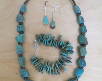 Turquoise Jewelry Set Matching Genuine Turquoise Beaded Necklace, Turquoise Bracelet, Earrings
