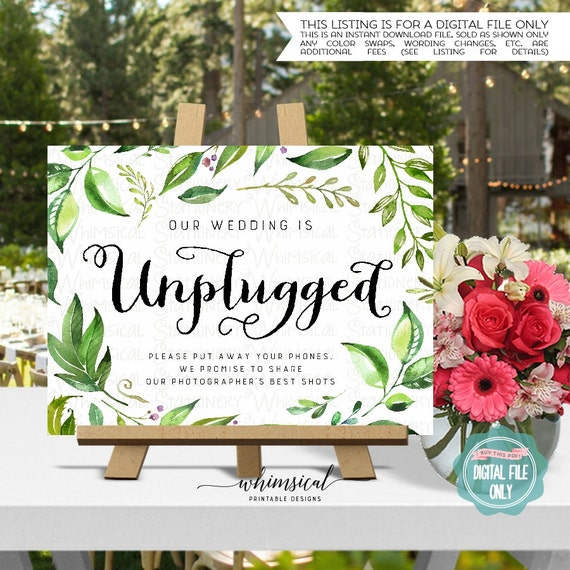 """No Ceremony Just Reception: Unplugged Wedding Sign """"Windblown"""" (Printable File Only"""