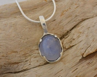 Oval Ellensburg Blue Agate Necklace, Ellensburg Blue Jewelry, Blue Stone Pendant, Sterling Silver, Natural Stone Pendant, Gift for Her