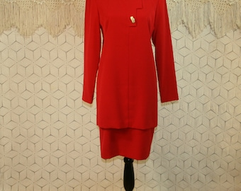 Red Suit Dress Red Day Dress Long Sleeve Red Dress Small Medium Midi Dress Womens Dresses Evan Picone Womens Vintage Clothing