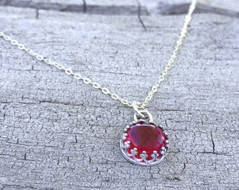 Sterling Silver Necklace - July Birthstone Necklace - Ruby Pendant Necklace - Gemstone Necklace - Mothers Day Gift - Bridesmaid Necklace