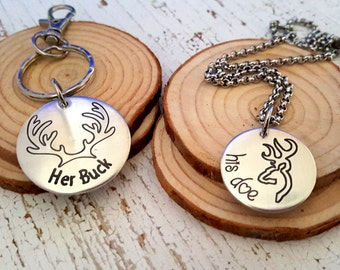 Couples Engraved Key Chain and Necklace   Her Buck Key Chain and His Doe Necklace