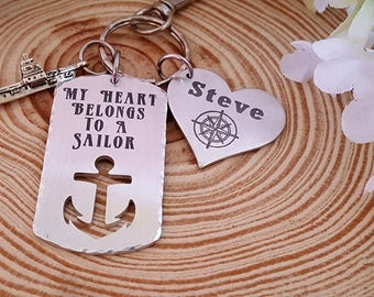 Engraved Navy Key Chain   My Heart Belongs to A Sailor on a Dog Tag with an Anchor Cut Out   Heart with name and Ship Charm