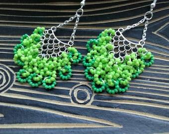 Chandelier earrings Beaded earrings Gypsy earrings Green earrings Long earrings Openwork earrings Clusters earrings Bright earrings