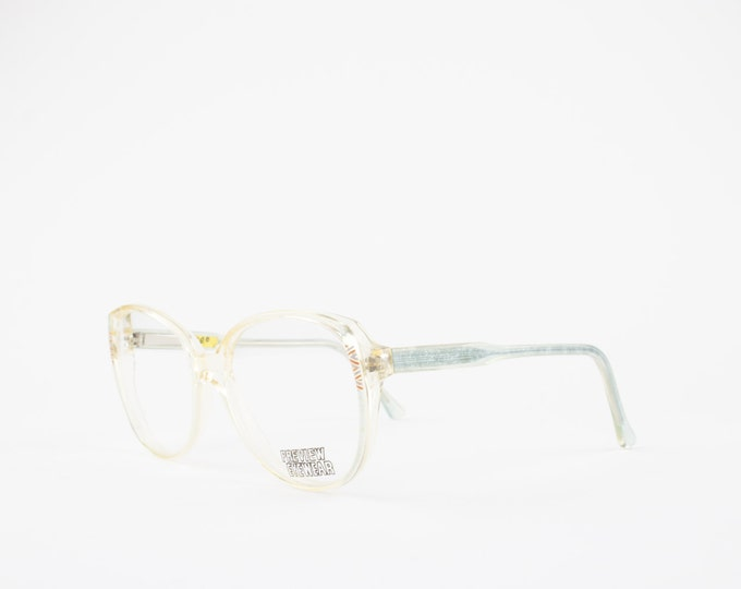 80s Vintage Glasses | Oversize Clear Eyeglass Frame | Sky Blue Temple Arms | NOS Round Eyeglasses - Amber XX