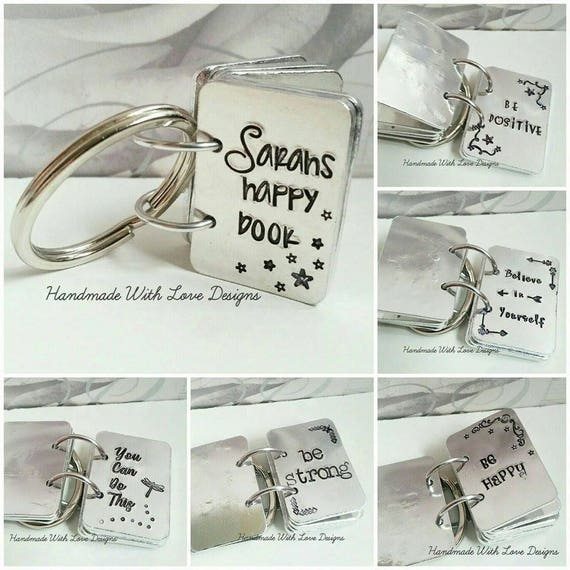 Happy Book key ring, Inspirational, Motivational. positive,  hand stamped key chain, personalised custom happy book.