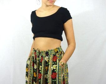 Vintage Indian Short Skirt Skort Summer Flower Pattern L 40 42 Women Womens