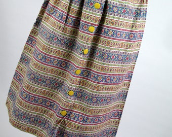 Vintage 70s Liberty Long Skirt Floral Summer Spring Hippie Boho Buttons S XS
