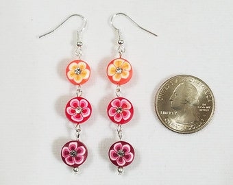 Floral Rhinestone Three Tier Dangle Earrings