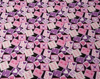 Flannel Fabric - Love Notes - 1 yard - 100% Cotton Flannel