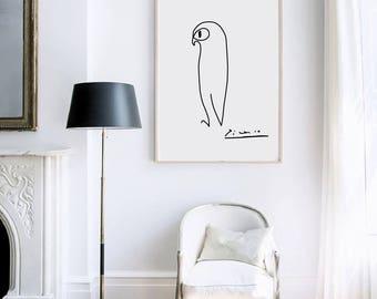 Owl Peace Print  - Wall Decor - Home Decor  - Owl Print - Picasso- Picasso Sketch - Pablo Picasso - Dove of Peace - Custom Size