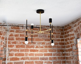 Free Shipping! Matte Black and Gold Raw Brass Modern Chandelier 4 Light Abstract and Funky Atomic Mid Century Industrial Light UL Listed