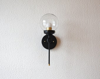 Single Light Wall Sconce Black and Gold Brass Globe Modern Abstract Mid Century Industrial Vanity Light Bathroom UL Listed