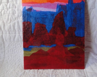 Sunset in the High Desert, Rich Colors Original Paper Art Decoupage Collage on 6 x 8 Canvas Board Home Decor