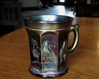 Vintage Northwood Carnival Glass Mug, Singing Birds, Amethyst, Antique Handled Coffee Mug, Iridescent Carnival Glass, Songbirds, IMPERFECT
