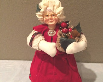 "Vintage Leewards Mrs. Clause Cloth Doll  Collectible 9.5"" Christmas Vintage"