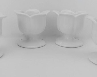 lot 4 ceramic bowls-footed tulip bowls-ceramic bowl candle holders-white serving bowls-dessert bowls-arts crafts supply-candle making supply