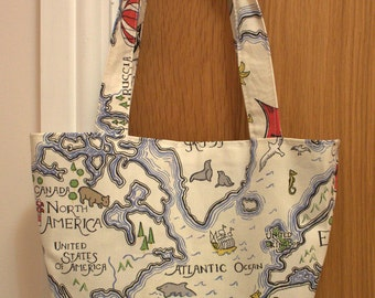 Small tote bag - world map