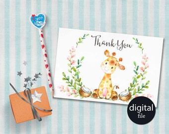 Baby Shower Thank You Card Printable, Giraffe Thank you Card, Printable Thank you Card, Birthday Thank you Card, Digital File