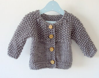 Knit Wool Baby Cardigan - Merino Wool Jacket for babies - Many colors available