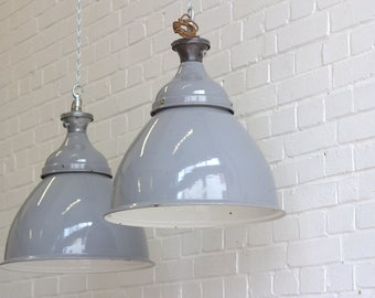 Large Domed Grey Industrial Pendant Lights By Benjamin Circa 1950's