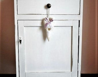 Shabby chic bedside handmade craftmanship - white country made in italy