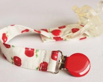 Apple Fabric Pacifier clip, Pacifier holder, Soothie pacifier, Baby pacifier clip, Binky Clips, Paci Clip, boy pacifier clip