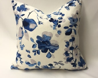 Shades of Blue & Grey Watercolor Flowers Decorative Pillow Cover