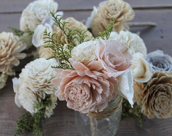 Blush Pink & Cream Peti Sola Flower Bouquet, Blush Pink Bridesmaid Bouquet, Light Pink Sola Bouquet, Blush Pink Centerpieces, Toss Bouquet