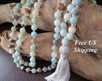 Mala Beads with Amazonite Gemstones, 108 Bead Mala, Mala Necklace, Prayer Beads, Yoga Jewelry, Japa Mala, Meditation Beads, Beaded Necklace