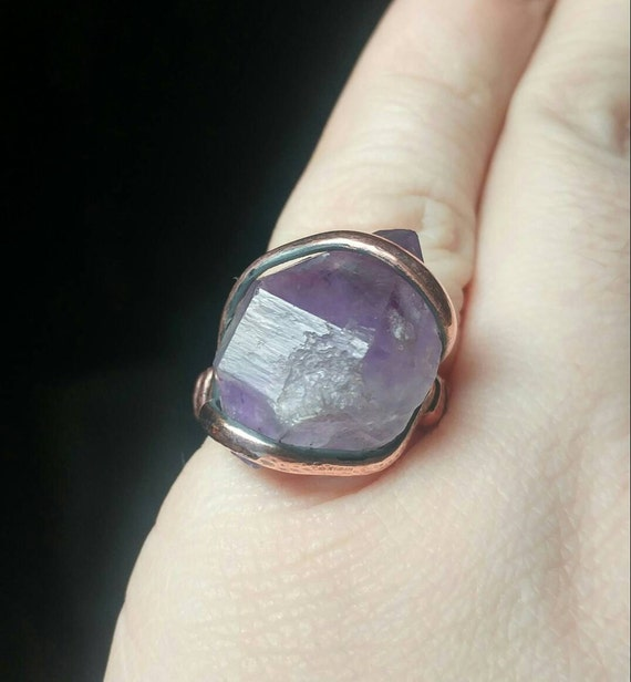 Raw Amethyst Ring | Copper Ring Sz 7.25 | Raw Stone Ring | Raw Crystal Ring | Double Terminated Crystal Ring | February Birthstone Ring