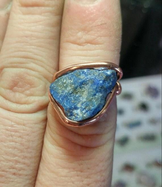 Raw Lapis Lazuli Ring | Copper Ring sz 7 | Raw Stone Ring | Raw Lapis Ring | Raw Gemstone Ring | Rustic Stone Ring | Rough Stone Ring