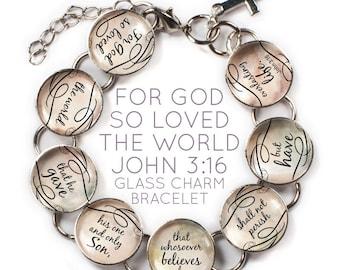 """For God So Loved the World, John 3:16 Christian Charm Bracelet, 6""""-9.5"""""""