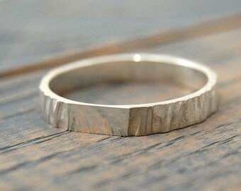 Rustic wedding ring for women, Tree Bark Silver Ring, Wedding band women silver, Women wedding Ring, wedding rings for women