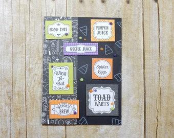 Halloween Greeting Card / Handmade / Blank Inside Greeting Card / Stamped Greeting Card / Halloween Card