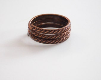 Copper Ring, Triple Wrapped  Ring
