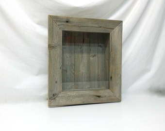 Rustic Shadow Box Display Cabinet Wall Shelf Beach Chic Cottage Chic Distressed Furniture Rustic Frame