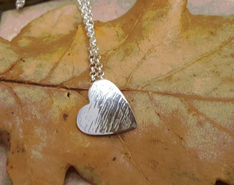 """Handcrafted Sterling Silver Heart Pendant - 16"""" or 18"""" Chain by Silverbird Designs"""