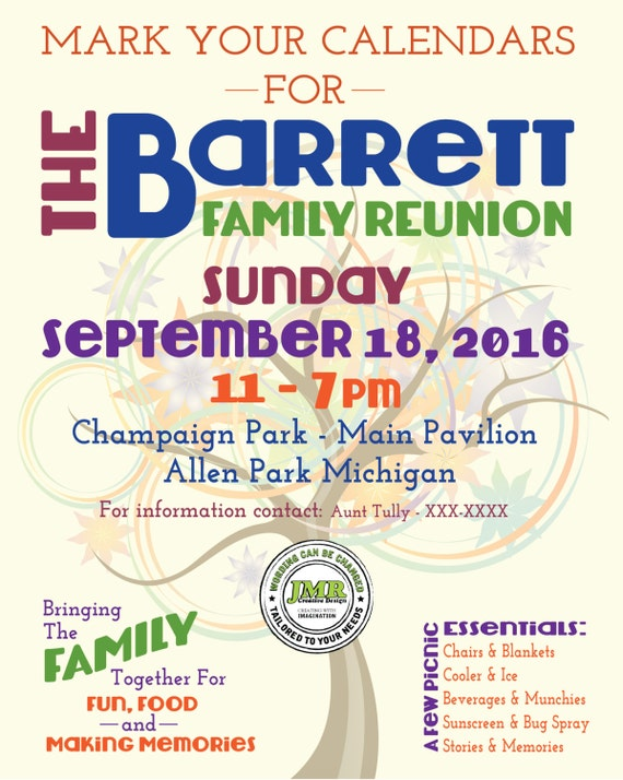 Family Reunion Flyer Save the Date Tree of by JMRCreativeDesign – Family Reunion Flyer