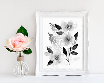 Black and White Printable Art - Watercolor Home Decor - Printable Watercolor Art - Watercolor Peony Art - Gallery Wall Printable - 8x10