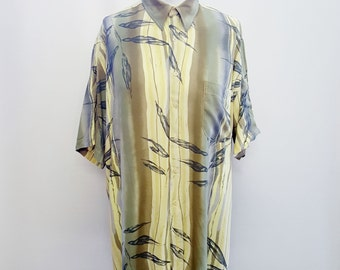90s Funky Shirt Surf Beach Holiday Leaf Print Festival Clothing