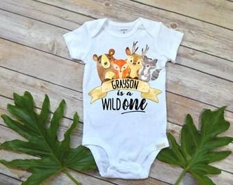 Woodland Birthday, Wild ONE, Woodland Animal Birthday, Woodland Party, Woodland Birthday, Boy Birthday shirt, Woodland Nursery, Personalized
