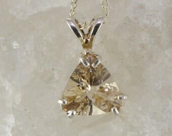 Oregon Sunstone Trillion Pendant Sterling Silver Necklace with Chain