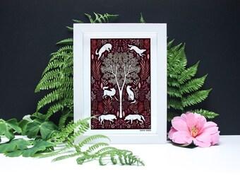 Folk Wolves - A4 or A3 Artists Print