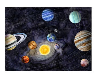 Solar System Art   Space Nursery Decor   Kids Room Decor   Space Print    Outer