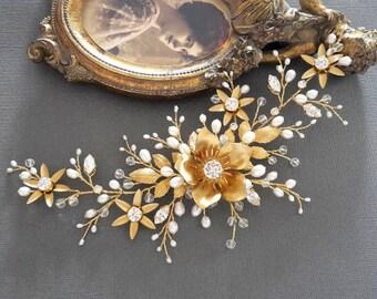 Gold hair vine Bridal Headpiece Wedding Hair Vine Bridal Hair Vine Bridal Hair Accessories Crystal Pearl Headpiece Wedding Pearl Halo