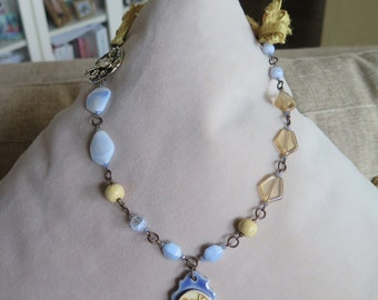periwinkle necklace, periwinkle and yellow necklace, romantic necklace, elegant necklace, wedding necklace, floral necklace, blue necklace
