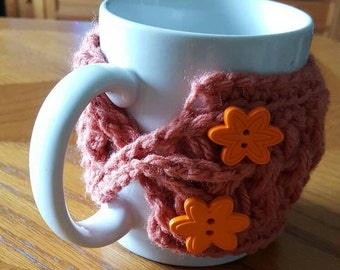 Cinnamon Mug Cozy, Handmade Mug Warmer, Crocheted Mug Warmer, Mug Decoration, Bright Orange Floral Buttons, Office, Home, Housewarming Gift